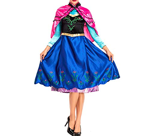 Mitef Anime Cosplay Kostüm Prinzessin Anna mit Schal für Erwachsene - Mehrfarbig - (Prinzessin Elsa Krönung Kostüm)