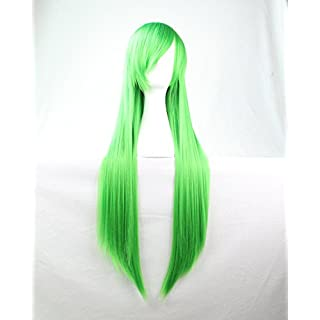 Womens Ladies Girls 80cm Green Color Long Straight Wigs High Quality Hair Carve Cosplay Costume Anime Party Bangs Full Sexy Wigs