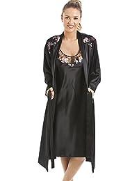Camille - Ensemble chemise de nuit et robe de chambre de luxe pour femme - satin - noir à fleurs