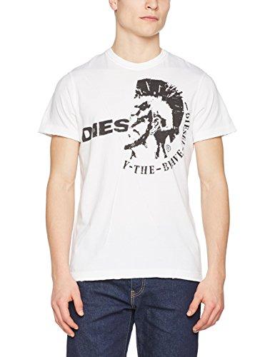 Diesel Herren T-Shirt, Weiß (100 - White 0Jail), XL (Diesel-baumwoll-jersey)
