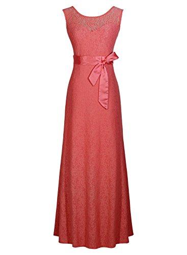 Miusol Damen Kleid aus Spitzen Rundhals Rueckenfrei Brautjungfer Cocktailkleid Fishtail Langes Abendkleid Lila-rot Groesse 3XL - 2