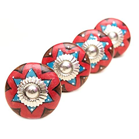 Pretty MEXICAN Inspired Star CERAMIC Door Knobs / Drawer Pulls from INDIA. SET of 4. (FELK160001) by Icarus