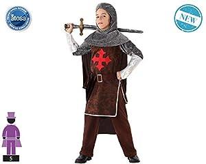 Atosa-61641 Atosa-61641-Disfraz Caballero Cruzadas-Infantil NIño, Color marrón, 3 a 4 años (61641