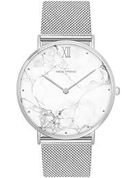 Reloj unisex Fun Trend reloj who cares I 'm already Late divertido abstractamente analógico de cuarzo de plata/blanco lw1493
