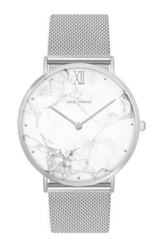 New Trend Unisex Armbanduhr Damen-Uhr Herren-Uhr, Analog Display, Quarzwerk, Mesh-Armband, Metall-Armband, Chronograph-Optik, mit Dornschließe, Marmor-Muster