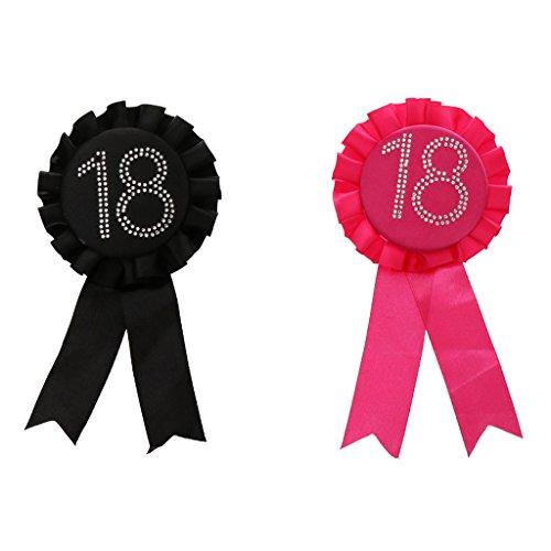 Badge Insigne Ruban Broche d'Anniversaire 18 Rose