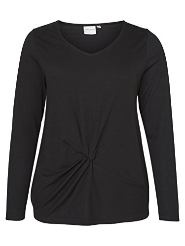 Junarose Cylle Damen Langarm-Shirt mit Knoten vorne | Pulli mit Twist lange Ärmel | Plus Size Pullover große Größen Schwarz