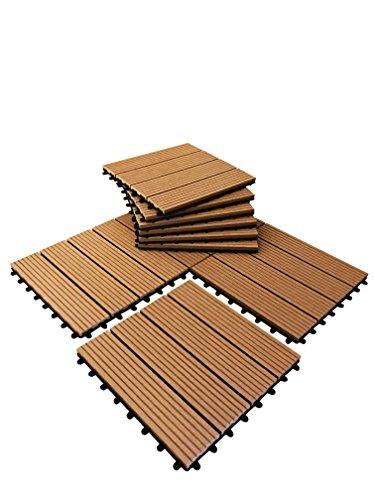 36piastrelle a incastro per pavimenti, in legno composito–teak a scatto per patio, giardino, balcone, vasca idromassaggio, con pannelli quadrati da 30 cm - 4
