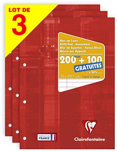 Clairefontaine 65818AMZC Lot de 3 - Blocs de Cours Encollés Grand Côté Couverture Carte Lignées avec Marge 300 Pages (200 + 100 Gratuites) 90g