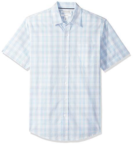 Light Blue Plaid Shirts (Amazon Essentials Slim-Fit Short-Sleeve Check Shirt Buttondown-Hemd, Light Blue/White Plaid, US (EU XS))