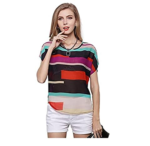 Summer Women Blouse, Yannerr Women Summer Perspective Casual Loose Chiffon Tops Colorful Blouses (S)