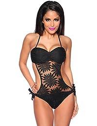 jowiha® Neckholder Monokini Bandeau Bikini mit Netzstoff und abnehmbaren Trägern in Schwarz Neongelb oder Neonpink