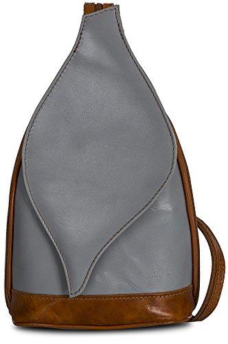 Petit sac à main 2 en 1 porté épaule transformable en sac à dos en autentique cuir italien - Ouverture magnétique type feuille - 'Kim' par LiaTalia(Gris clair et bords caramel)