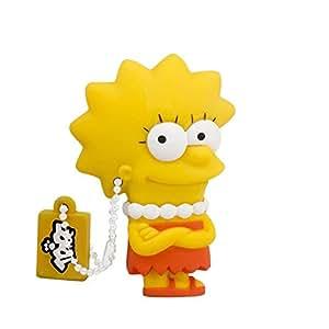 Tribe Simpsons Lisa Chiavetta USB da 8 GB Pendrive Memoria USB Flash Drive 2.0 Memory Stick, Idee Regalo Originali, Figurine 3D, Archiviazione Dati USB Gadget in PVC con Portachiavi - Giallo
