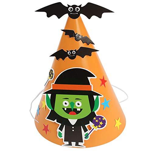 Aisoway 1pc Halloween-Party-Hüte Papier Cartoon-Muster Cap DIY-Hut-Party-Feier-Verzierung Hut Für Kinder Erwachsene (Orange-Assistenten)