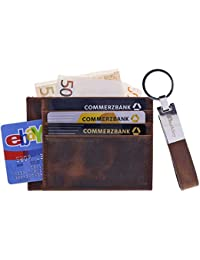 5aab7b0555e39 Burkley Lederhülle Kreditkartenetui mit Schlüsselanhänger - 9 Fächer -  Kreditkartenhülle…