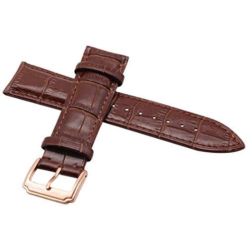 Rose Distressed-leder (autulet klassische Leder dunkelbraun 15mm Armband-Uhrenarmband Goldschnalle Rose)