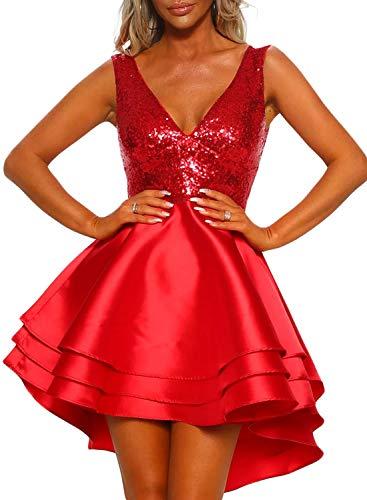 Asvivid Damen-Minikleid, sexy, Pailletten, tiefer V-Ausschnitt, ärmellos, mehrere Lagen, Rüschen, funkelnd, Weihnachten, Party, Ball, Skater Gr. L, rot