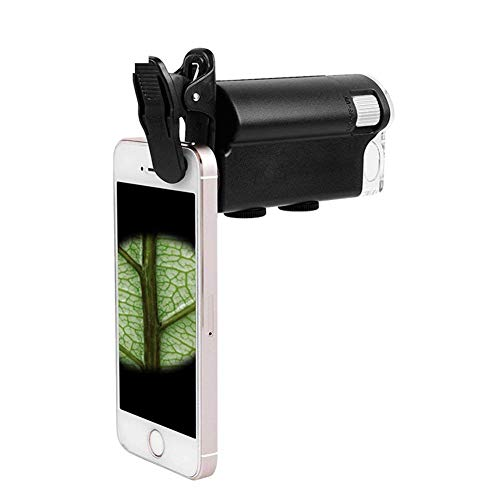 JYTFDJ 60-100X Teleobjektiv + 180 ° Handy-Mikroskop LED UV-Licht Schmuck Lupe Lupe Schleife Juwelier Brillenmikroskop Smartphones iPhone Samsung und Tablets Tragbare Clip-On-Micro-Linse Clip-on-lupe