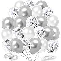 O-Kinee Ballons Argenté Anniversaire, 60 Pièces Argent Ballon de Baudruche, Confettis Ballons Helium, Ballon Métallique…