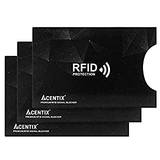 4 X ACENTIX Black Waterproof RFID&NFC Blocking Sleeves for Credit Card,RFID Card Holder,Anti Identity Theft,Design Perfectly Fits Wallet/Purse