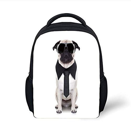 Kids School Backpack Pug,Cool Looking Dog Tie Big Fancy Black Sunglasses Funny Canine Animal Comedy Image Decorative,Black Cream Plain Bookbag Travel Daypack Plain Black Tie