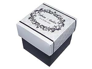lot de 4 Boîte à dragées ARABESQUE CUBE personnalisée avec votre texte pour baptême couleur noir et blanc - ballotin à dragées design et moderne