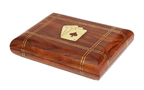 Christmas Gifts Sale Exquisite Hand Crafted Decorative Wooden Double Playing Card Deck Holder Box with Brass Ace Design Inlay