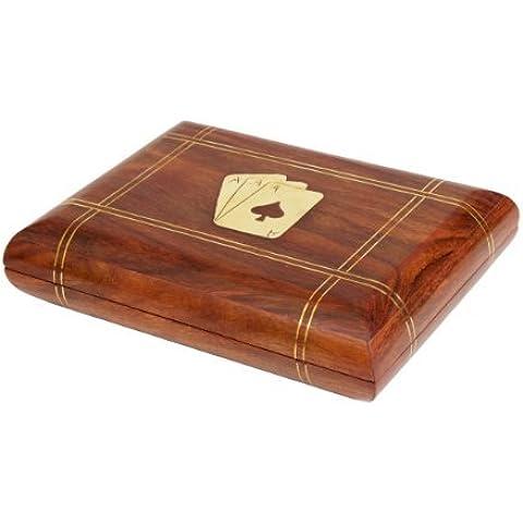 Store Indya, Exquisita mano hecha a mano del naipe decorativo cuadro titular Double Deck de madera con laton Ace Diseno del