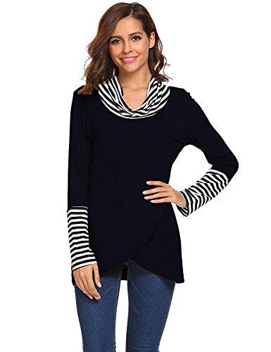 Shmily Girl Damen Bluse Frühling Herbst Casual T-Shirt Langärm Top Schwarz