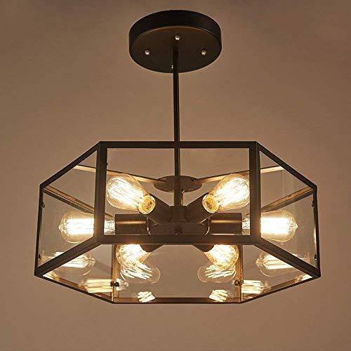 DGHDFH * 40CM Retro Hexahedron Glas Deckenleuchte Nordic Restaurant Kronleuchter 6 Edison Lichter Küche Insel Deckenleuchte ● -