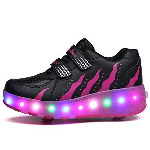 Wheelies Schuhe mit Rollen Rädern Skateboard Blinkschuhe Outdoor Sport Kinderschuhe Led Licht Turnschuhe Leuchtend Sneaker Mädchen Jungen Rose 2