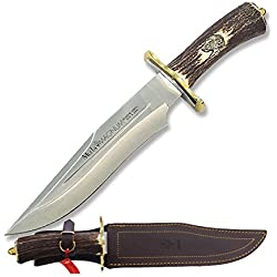 Electropolis Cuchillo de Caza Muela Magnum MAGNUM-23, puño de asta de Ciervo y latón, Hoja MOVA de 23 cm, Mango de 13 cm + Tarjeta Multiusos de Regalo