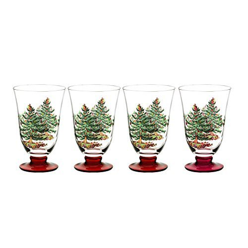 Spode Christmas Tree Glass Footed All Purpose Glasses with Red Stem (Set of 4), Multicolor by Spode Spode Christmas Tree Glass