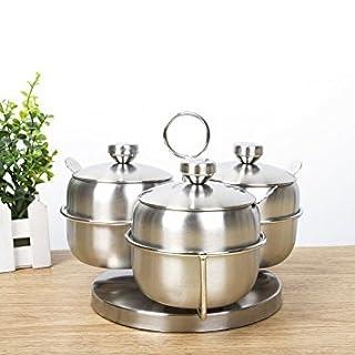Alicemall Küche 3 Edelstahl Rund Gewürzdosen mit 3 Löffeln und 1 Gewürzregal Abnehmbar