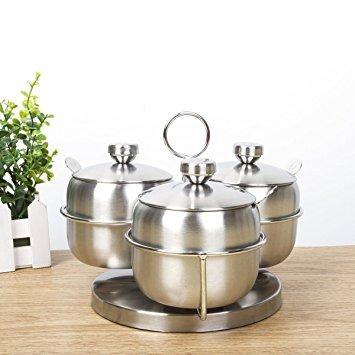 Alicemall barattoli portaspezie, barattolo porta spezie set da 3 contenitori di condimento in acciaio inossidabile - con il supporto girevole 360° e i cucchiai