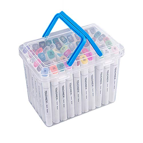 Hbwz 60 Farben Dual Tipps Permanent Marker Pens Art Marker für Kinder mit Tragetasche zum Zeichnen Skizzieren Adult Coloring Hervorheben,Animeversion - Flipchart-tragetasche