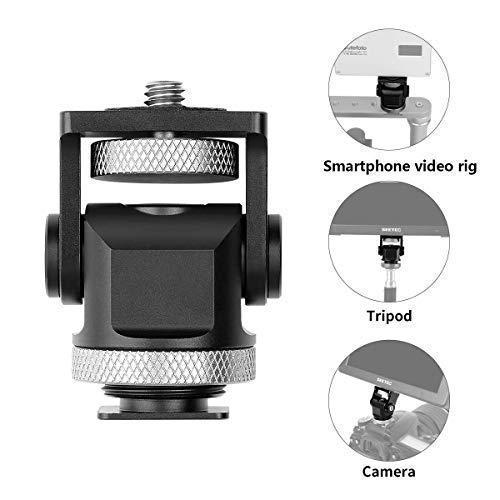 """Dazzne 1/4\""""Mini Fadenkopf Hot Shoe Mount Adapter Ring Light Adapter 360 Grad Standard Schuhhalterung für Kameras, Smartphone, Gopro, LED-Videolicht, Mikrofon, Videomonitor und Ringblitzlicht"""