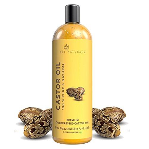 Rey Naturals kaltgepresste, 100{283073cb522c68abbf2b143a200287325490b1ce32f55a64120c10377bd7a8da} PURE Rizinusöl-Feuchtigkeitsspendende & Heilung, für trockene Haut, das Haarwachstum-Für Haut, Haar Pflege, Wimpern (200ml)