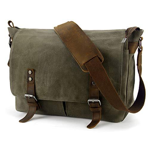 Y-DOUBLE Wasserdicht Vintage Canvas Leder Messenger Bag Umhängetasche Aktentasche Schultertasche 14 Zoll Laptoptasche Notebooktasche aus Canvas und Leder