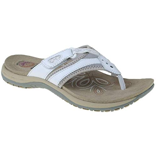 earth spirit juliet ladies suede toe post sandals white