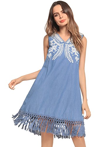 Ruiyige Vestido de mezclilla con cuello en V sin mangas bordado flojo sin mangas azul claro S