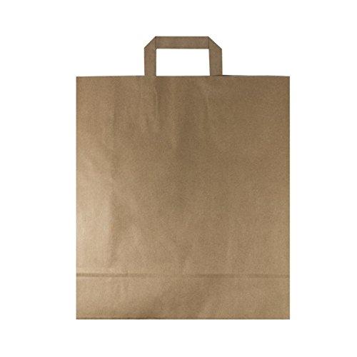 BAMI 250 Stück Papiertragetasche Papiertasche 32 + 15 x 40 cm, BRAUN - 80gr/m, Einkaufstüte Tüte Henkeltasche Tragetasche Papiertüten aus Pappe Recyclebar