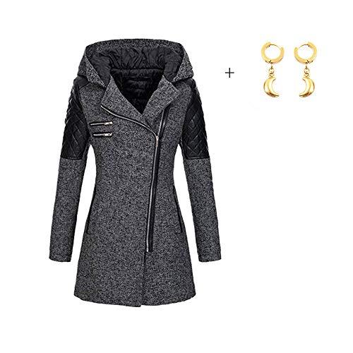 OIKAY Winter Outwear Hooded Zipper Mantel Damen Warm Slim Jacke Dicke Parka Mantel Jacke (Grau, EU-36/S) -