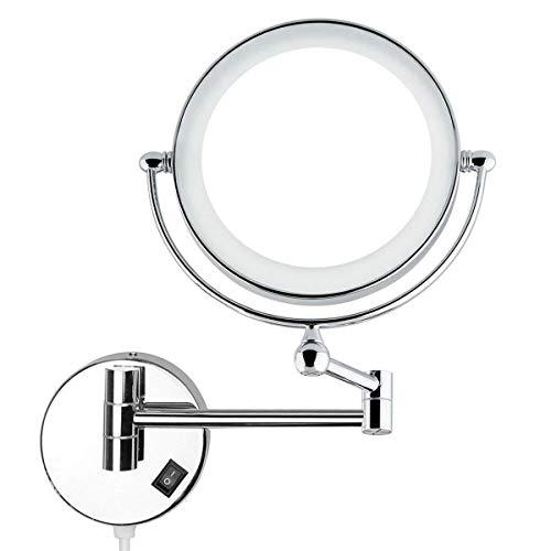 Auxent Kosmetikspiegel mit LED Beleuchtung und 1-/ 5-facher Vergrößerung aus Kristallglas, Edelstahl und Messing, Doppelseitig, Rostfrei, Schminkspiegel Beleuchtet für Badezimmer, Kosmetikstudio, Spa und Hotel