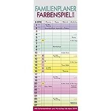 Familienplaner Farbenspiel 2018: Praktischer Familienkalender mit 4 breiten Spalten, Ferienterminen, Vorschau bis März 2019 und nützlichen Zusatzinformationen.