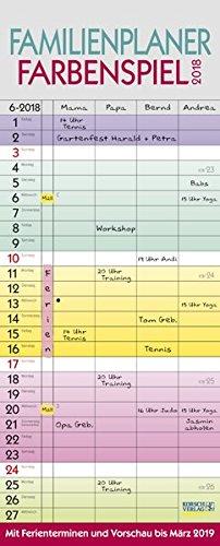 Familienplaner Farbenspiel 2018: Familienkalender, 4 breite Spalten, bunt mit Ferienterminen, Vorschau bis März 2019 und nützlichen Zusatzinformationen.