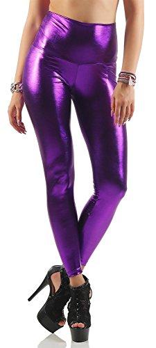 Leggings Wet-Look schwarz silber gold pink grau Glanz Legings Gr. S M L XL 2XL 3XL 4XL, p904 Lila XXL/44 (Schwarz Und Gold-leggings)