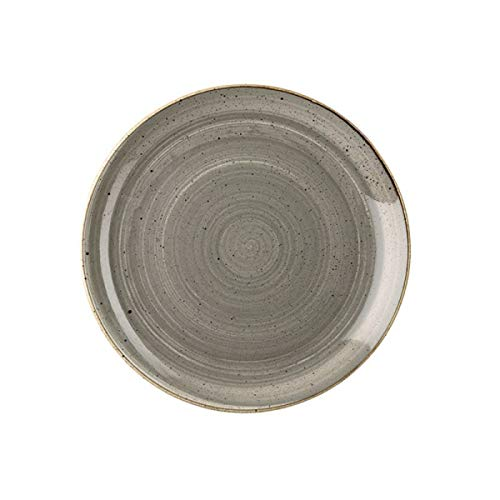 Visiodirect Lot DE 12 Assiettes Plates Stonecast Grise - 26 cm