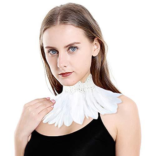 Homelex Gothic Schwarz Natürlich Federn Spitze Cape Wedding Choker Kragen (White-FL)